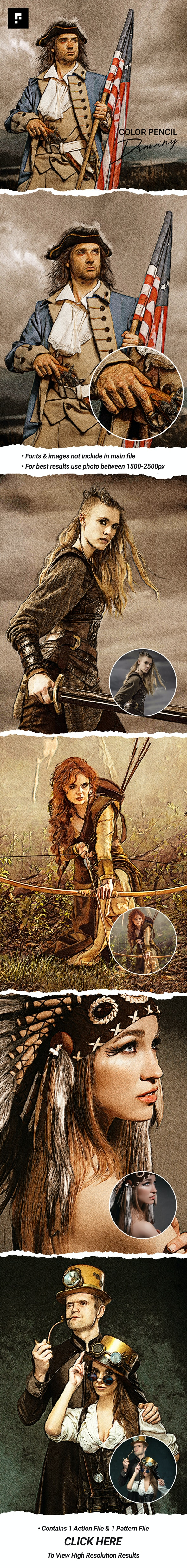 Color Pencil Drawing Photoshop Action - Photo Effects Actions
