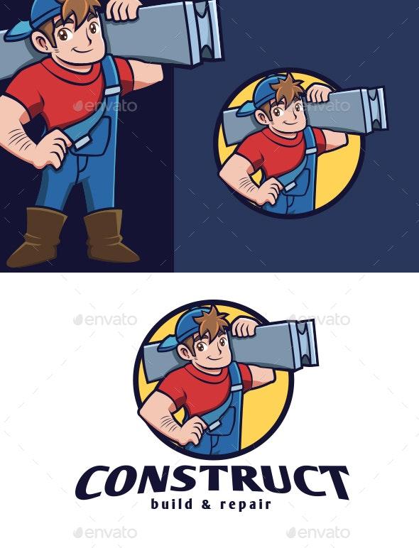 Construction Guy Mascot Logo - Buildings Logo Templates