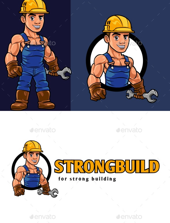 Construction Worker Mascot Logo - Buildings Logo Templates