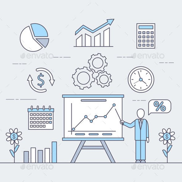 Business Application Vector Cartoon Outline