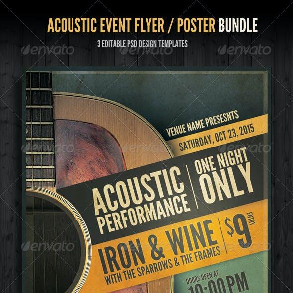 Acoustic Event Flyer/Poster Template Bundle