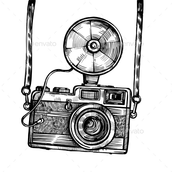 Retro Camera with Flash Vintage Vector Sketch - Miscellaneous Vectors