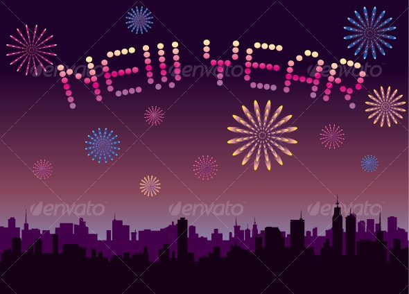 Happy New Year with Firework - New Year Seasons/Holidays