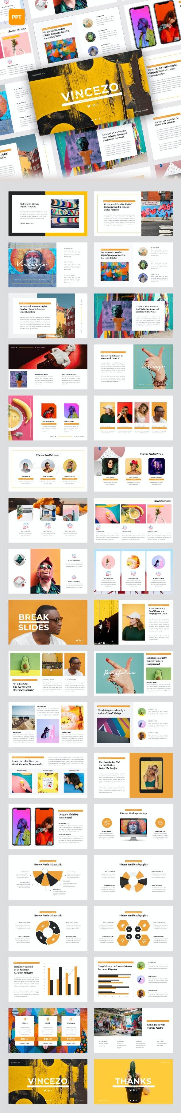 Vincazo - Creative Business PowerPoint Presentation Template - Creative PowerPoint Templates