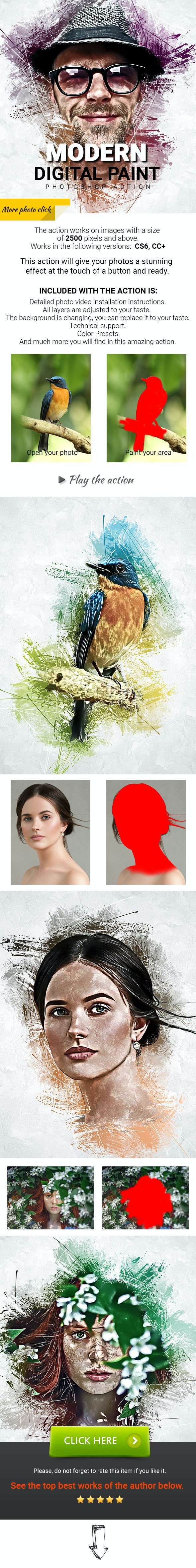Modern Digital Paint Photoshop Action - Photo Effects Actions