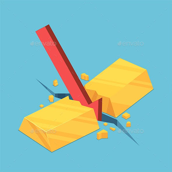 Isometric Gold Bar Cracked by Red Falling Arrow