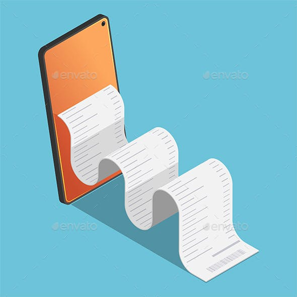 Isometric Financial Bill come out from smartphone