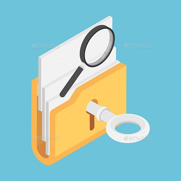 Isometric Key Unlock Folder with Magnifying Glass on Top