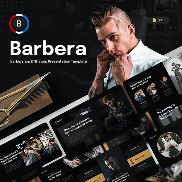 Barbera - Barbershop & Shaving Google Slides Presentation Template