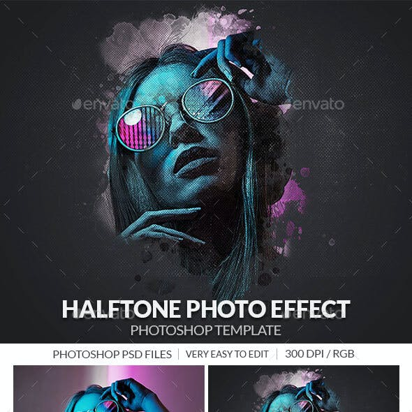 Halftone Photo Effect Template