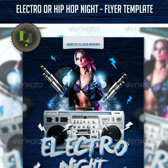 Electro or Hip Hop night - Flyer Template