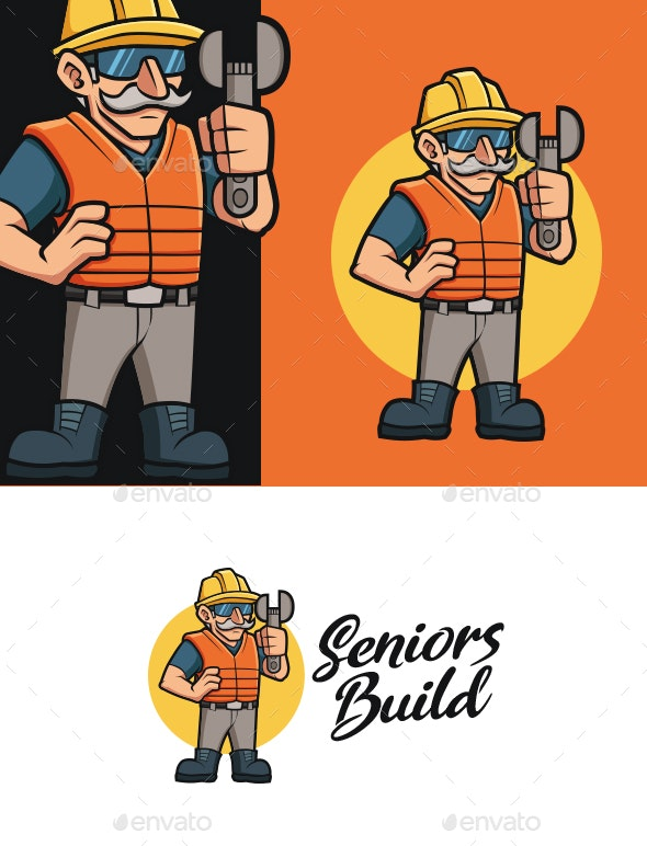 Old Construction Worker Mascot Logo - Buildings Logo Templates