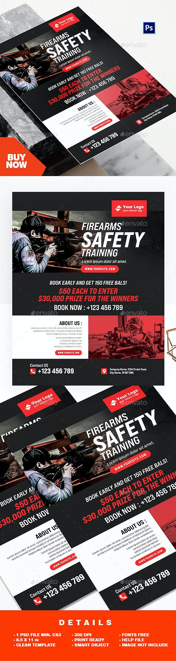 Firearms Safety Training Course Flyer Template - Sports Events