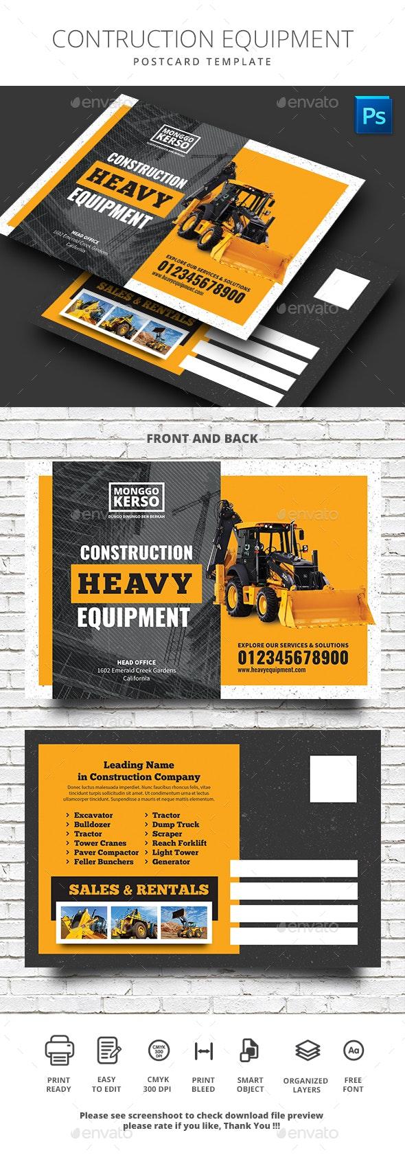 Construction Heavy Equipment Postcard - Cards & Invites Print Templates