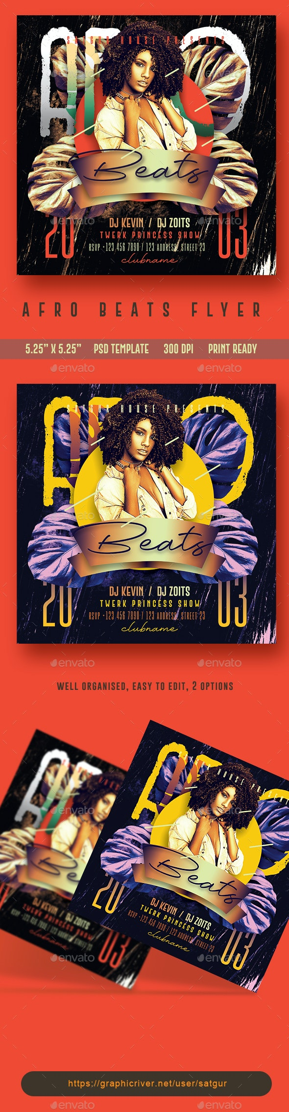 Afro Beats Flyer Template - Clubs & Parties Events