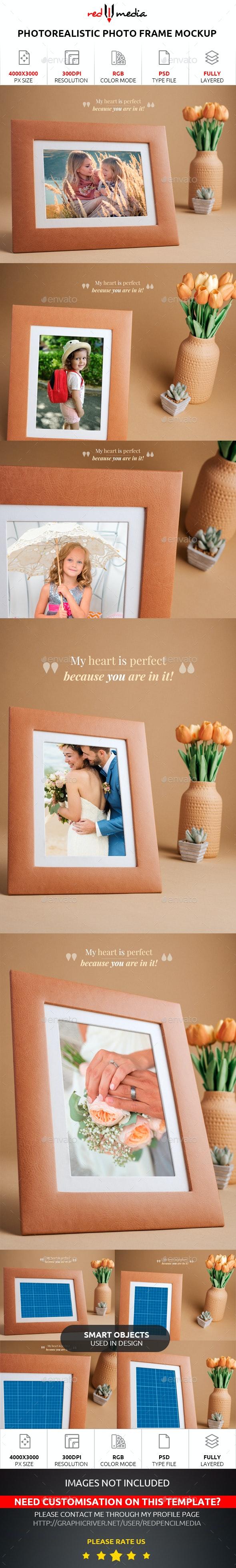 Photorealistic Photo Frame Mockup - Miscellaneous Product Mock-Ups