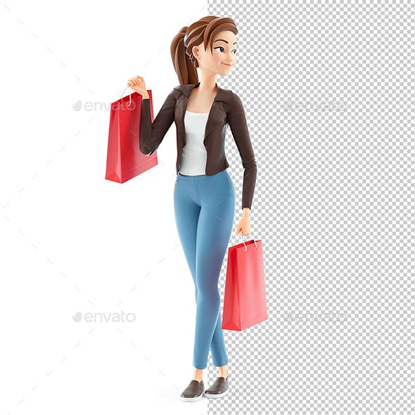 3D Cartoon Woman with Shopping Bags