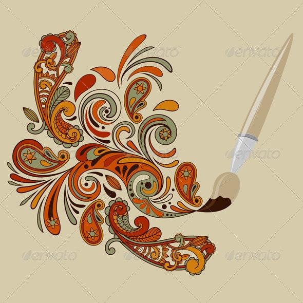 Painting Brush - Flourishes / Swirls Decorative