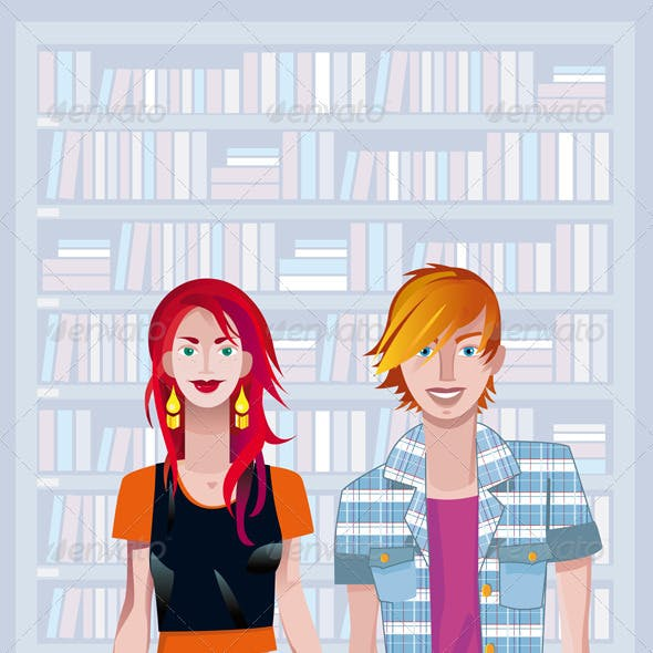 Teen Caucasian Couple In A Library