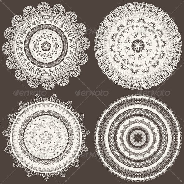 4 Vector Lacy Napkins