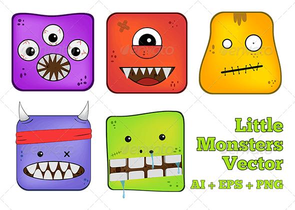 Little Monster - Characters Vectors