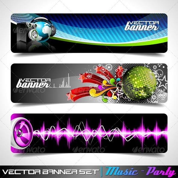 Vector Banner Set on a Music and Party theme