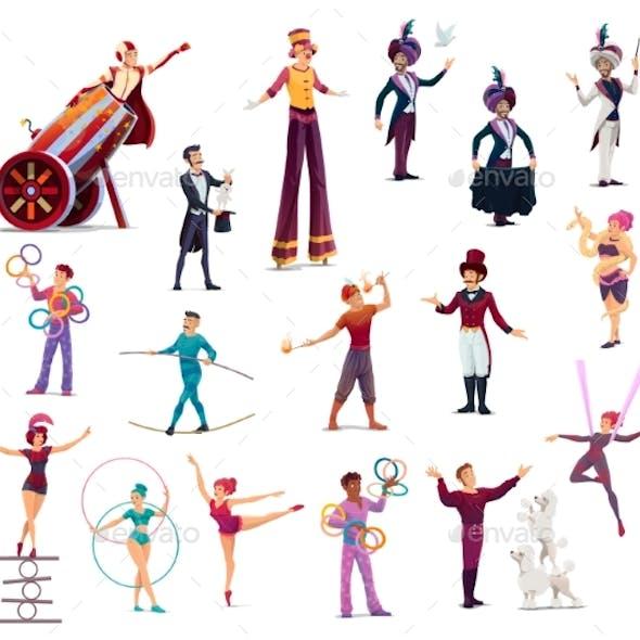 Circus Performers Cartoon Vector Top Tent Artists