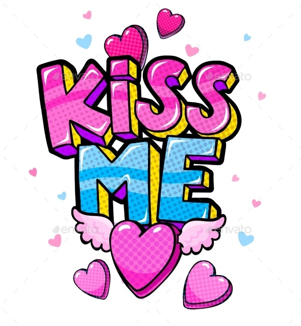 Kiss Me Lettering and Winged Heart - Miscellaneous Vectors