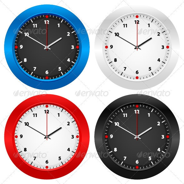 Wall clock - Objects Vectors