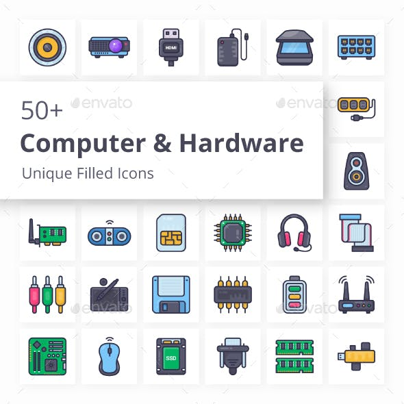 Computer and Hardware Unique Filled Icons