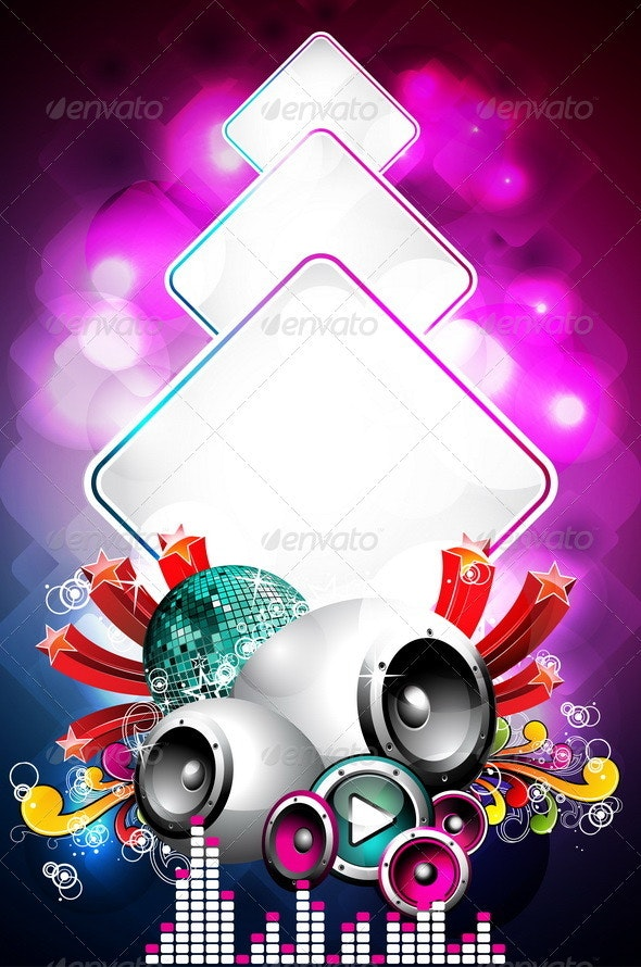 Abstract Vector Shiny Background with Speakers - Media Technology