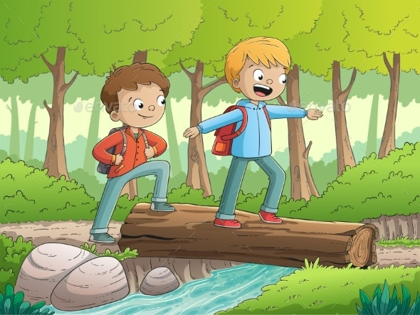 Boys Walking Through The Forest - Landscapes Nature