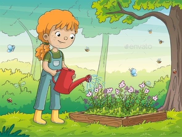 Girl Watering Flowers - Landscapes Nature