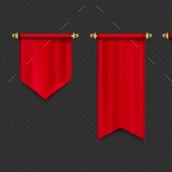 Red Pennant Flags Mockup Blank Hanging Banners