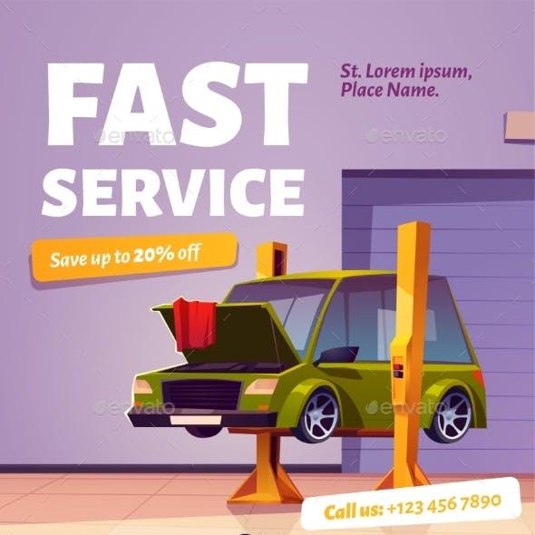 Fast Car Service Poster Auto Maintenance Flyer