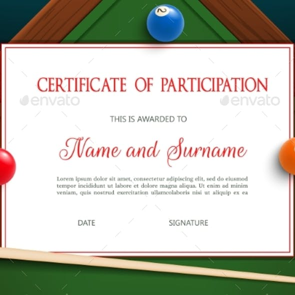 Certificate of Participation Billiard Tournament