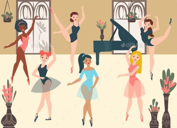 Dancer Ballerinas School Modern Classic Dance - Miscellaneous Vectors