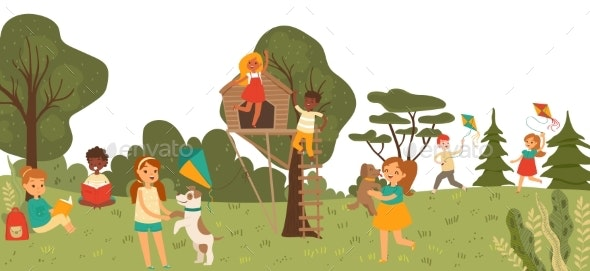 Cheerful Group Kid Character Playing Together - Landscapes Nature