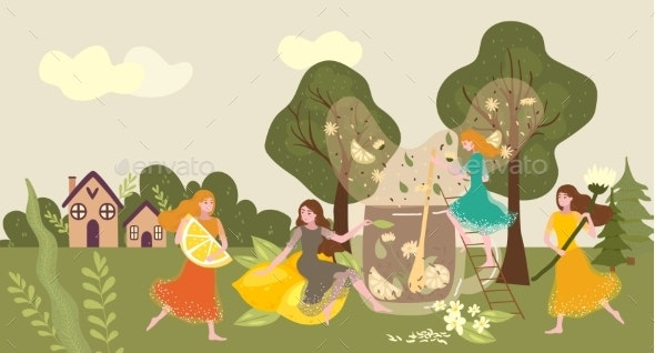 People Collecting Tea Herb Woman Carry Orange - Food Objects