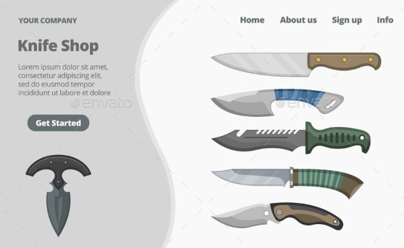 Online Knife Shop Landing Page Concept Flat Vector - Man-made Objects Objects
