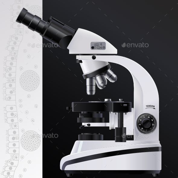 Microscope realistic vector. Bio medical laboratory high resolution optical or electronic white.