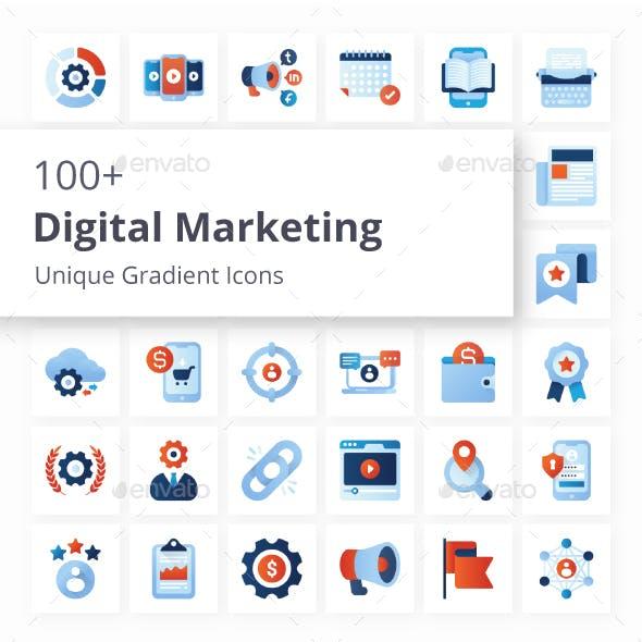 Digital Marketing Unique Gradient Icons