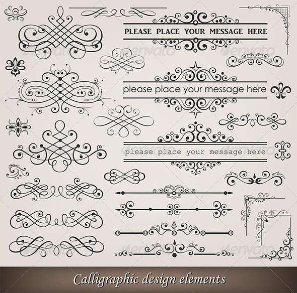 Calligraphic elements and page decoration  - Retro Technology