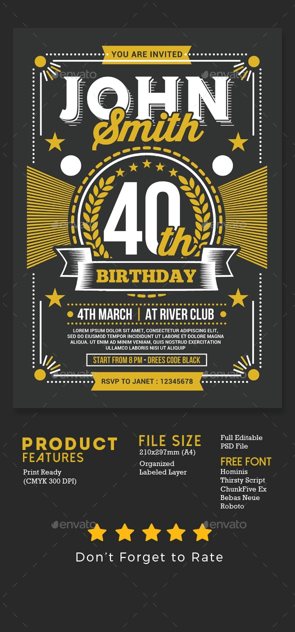 Old Retro Birthday Party Invitation - Events Flyers