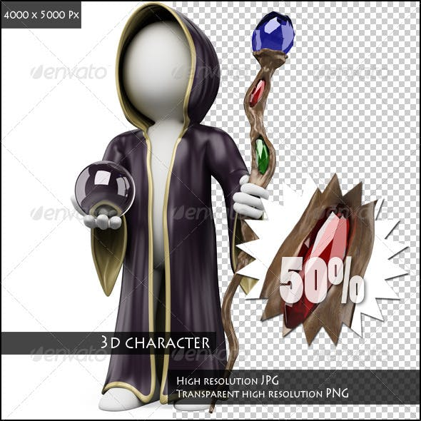 3D White People. Halloween Sorcerer Costume