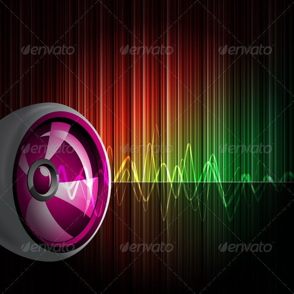 Abstract vector shiny background with speaker. - Media Technology