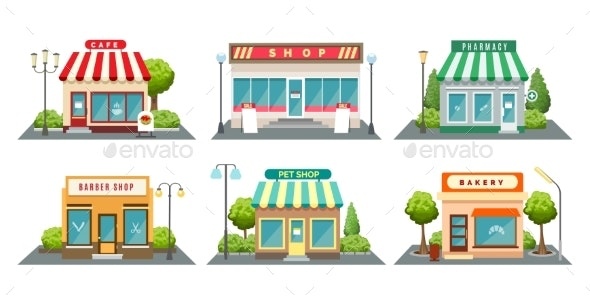 Shops Fronts on Street - Buildings Objects