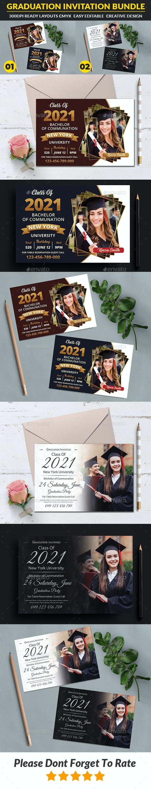 Graduation Invitation Bundle - Cards & Invites Print Templates