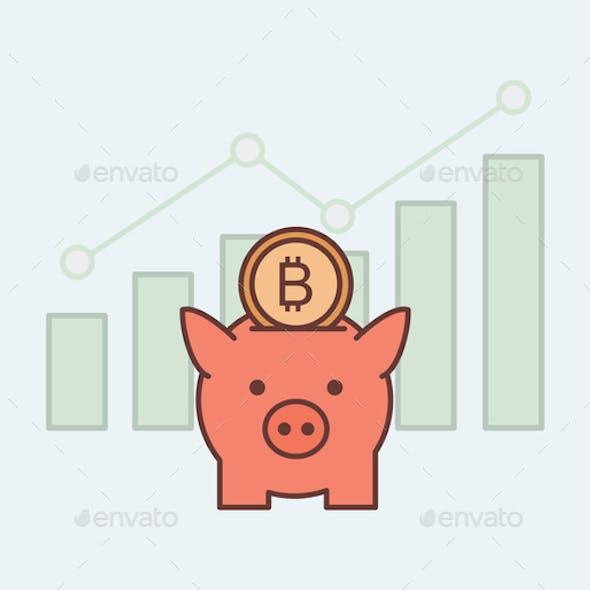 Piggy Bank with Bitcoin Vector Cartoon Outline
