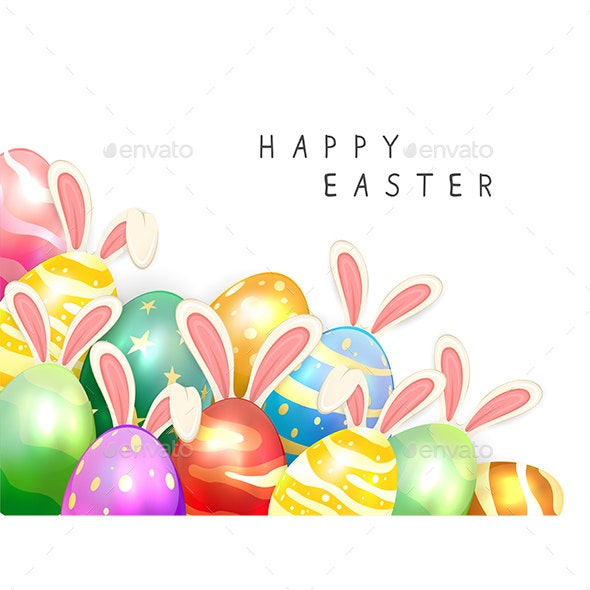 Set of Easter Eggs with Rabbit Ears on White Background - Miscellaneous Seasons/Holidays